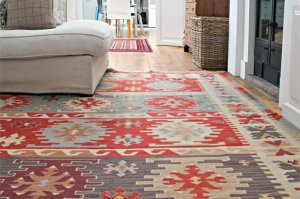 freshly cleaned oriental area rug with bright colors